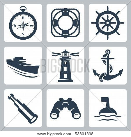 Vector Sea Icons Set: Compass, Ring-buoy, Steering Wheel, Ship, Lighthouse, Anchor, Spyglass, Binocu