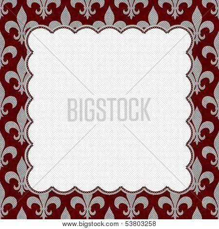 Red And Gray Fleur De Lis Textured Fabric Background