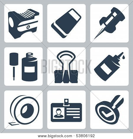 Vector Office Stationery Icons Set: Pencil Sharpener, Eraser, Push Pin, Correction Fluid, Clip, Glue
