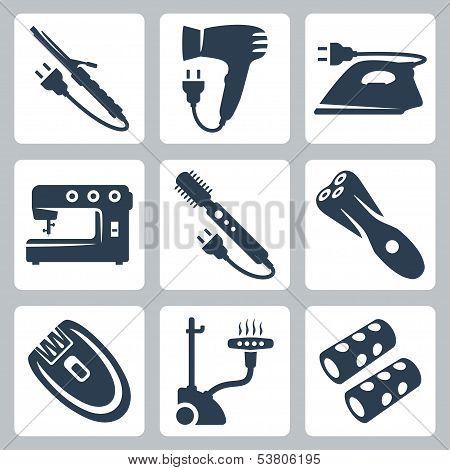 Vector Beauty And Garment Care Appliances: Curling Iron, Hairdryer, Iron, Sewing Machine, Brush Hair