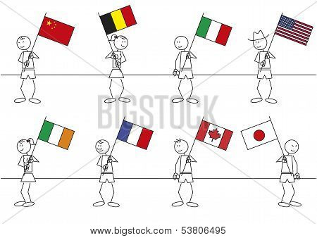 Stick Figures Flags