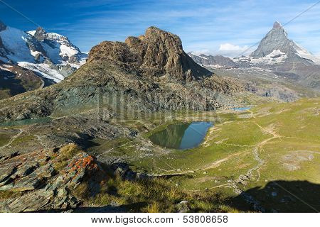 Panorama in Swiss Alps with Rifelsee and Matterhorn, Switzerland