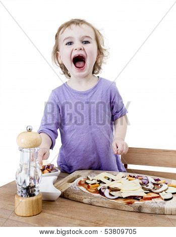 Screaming Child Making Fresh Pizza