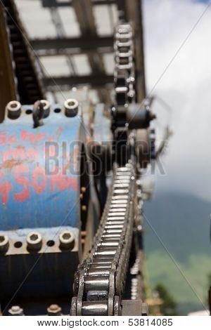 Chairlift mechanical pulleys in ski resort