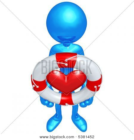3D Character With Lifebuoy Heart