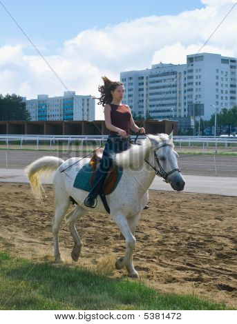 Chica a horcajadas en un caballo contra el paisaje urbano