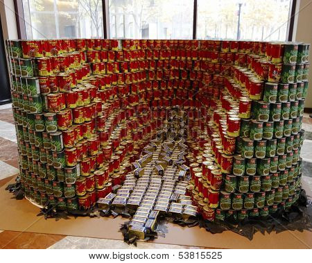 Food sculpture presented at 21st Annual NYC Canstruction competition in New York
