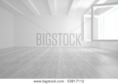 White room with opened windows and floorboard