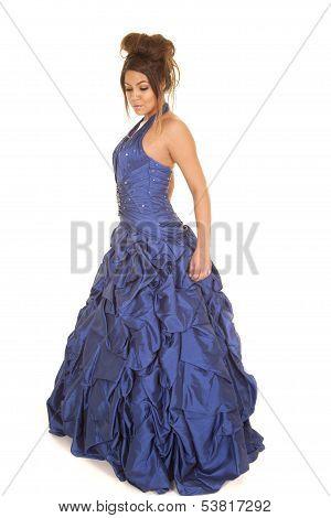 Woman Blue Formal Look Down