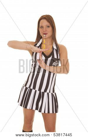 Woman Referee Signs Time Out