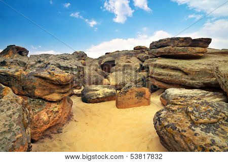 The Stone Grave Or Rocky Mound Kamena Mohyla. Big Stones On The Sand.