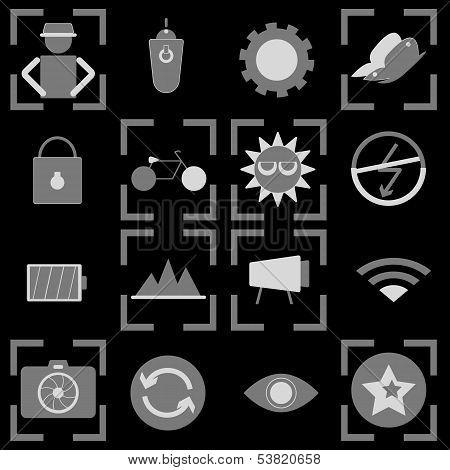 Photography Icons On Black Background