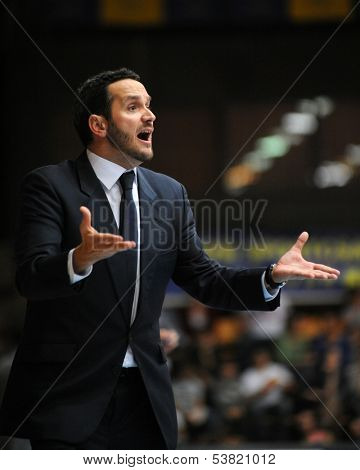 KAPOSVAR, HUNGARY � OCTOBER 26: Carlos Frade (Fehervar trainer) in action at a Hungarian Championship basketball game with Kaposvar (white) vs Fehervar (blue) on October 26, 2013 in Kaposvar, Hungary.