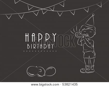Happy Birthday, greeting card or gift card with sketch of little boy in birthday cap playing party horn blower on decorated vintage brown background.