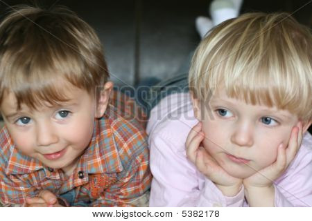 Two Kids Watching Tv