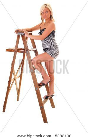 Girl On Stepladder.