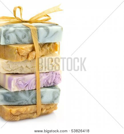Beauty handmade colorful pile of soap with ribbon