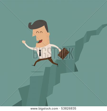 businessman jump through the gap , eps10 vector format
