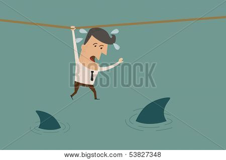 Businessman in a risky situation vector format