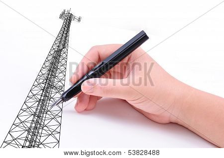 Hand Drawing Communication Tower On White Background