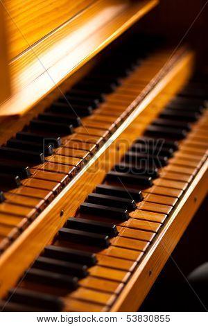 Church organ wooden keyboard