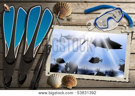 Spearfishing Photo Frame With Sea Abyss
