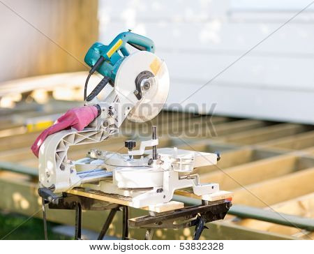 Closeup of table saw at construction site