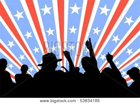 Silhouette of a crowd of spectators on background of stars and stripes. Property release is attached to the file