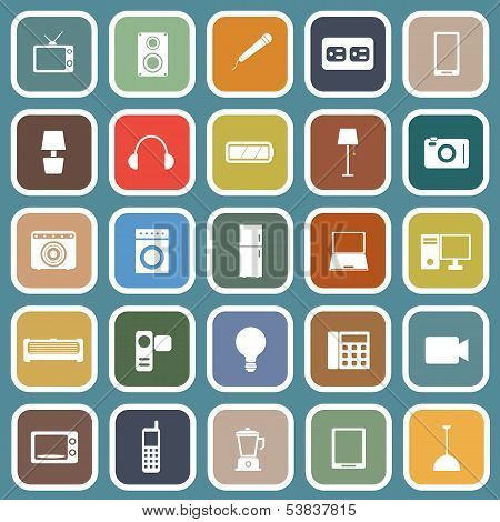 Electrical Machine Flat Icons On Blue Background