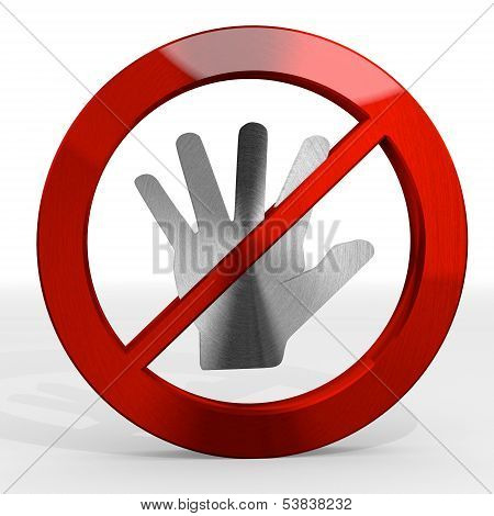 3D Render Of A Forbidden Hand Sign Not Allowed