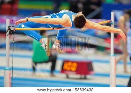 GOTHENBURG, SWEDEN - MARCH 1 SIlvano Chesani (ITA) competes in the qualification of the men's high jump event during the European Athletics Indoor Championship on March 1, 2013 in Gothenburg, Sweden.