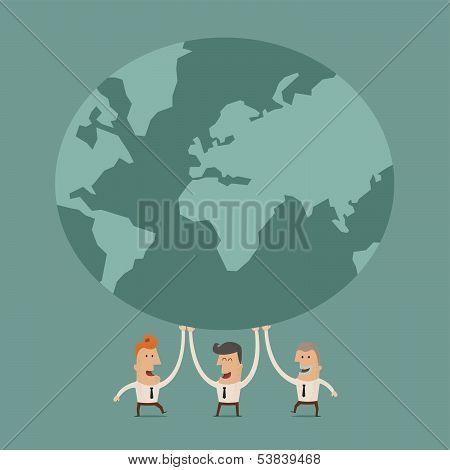 Businessman holding earth ,Vector EPS 10