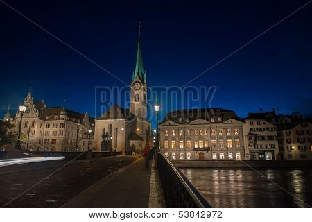 Zurich Skyline and the River Limmat in the Evening  Switzerland