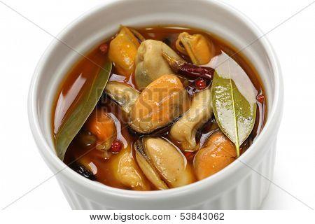 mejillones en escabeche, marinated mussels, spanish cuisine