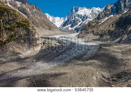 View To French Alps Valley Under Mt. Blanc With Mer De Glace - Sea Of Ice Glacier