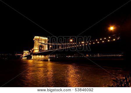 Night Image Of The Hungarian Chain Bridge