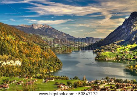 Lake Lungern Valley From Br�nig Pass In Beautiful Autumn Weather, Obwalden, Switzerland, Hdr