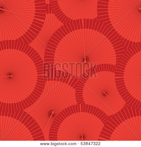Round Vector Flamenco Fan Seamless Background Pattern