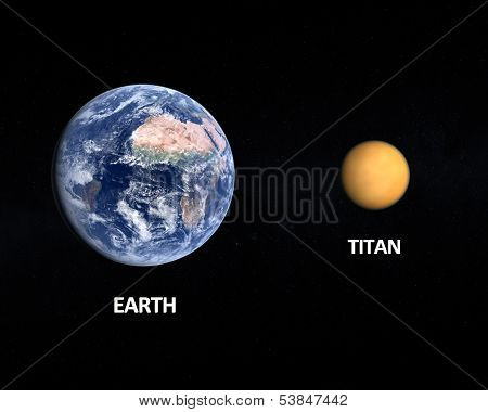 Planet Earth And Saturn Moon Titan 3D Rendering No NASA Imagery have been used.