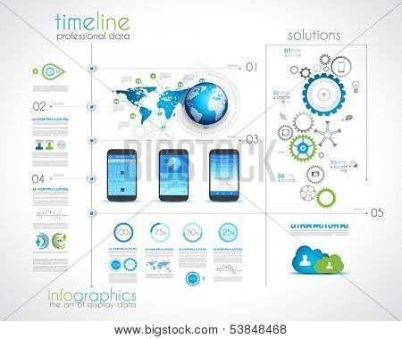 Timeline design with infographics desing elements