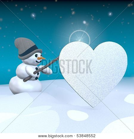 Snowman With Magic Wand And Heart Sign