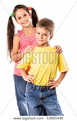 Two smiling kids standing together