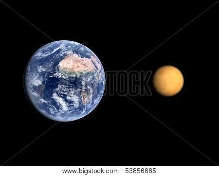 Planet Earth And Saturn Moon Titan