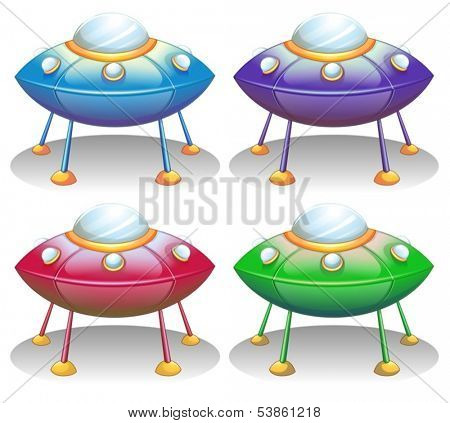 Illustration of the colorful UFO saucers on a white background