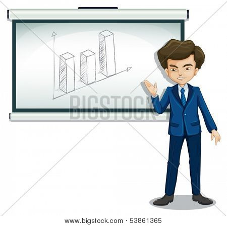 Illustration of a man standing in front of a bulletin board with a graph on a white background