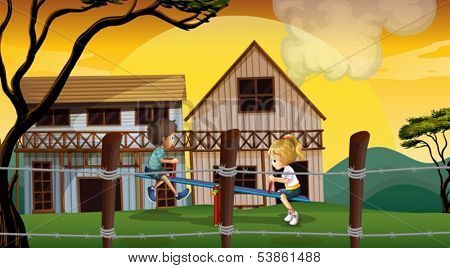 Illustration of the kids playing seesaw in front of the wooden barnhouses