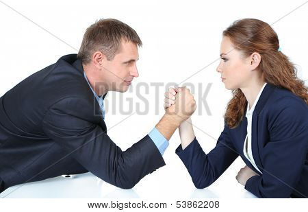 Business people wrestling isolated on white