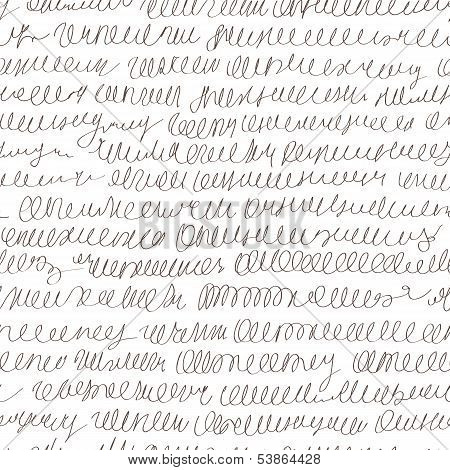 Abstract Vector Pseudo Hand Writing Seamless Background Pattern