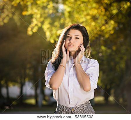 Summer Fashion Portrait Of Young Beautiful Stylish Girl Posing Outdoors
