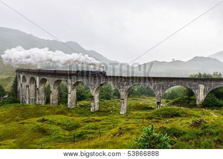 Train on Glenfinnan Viaduct Scotland UK